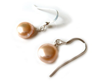 Floating Peach / Pink Freshwater Pearl Sterling Silver, Rose or Yellow Gold Filled Earrings, 9 - 10mm Top Drilled Button