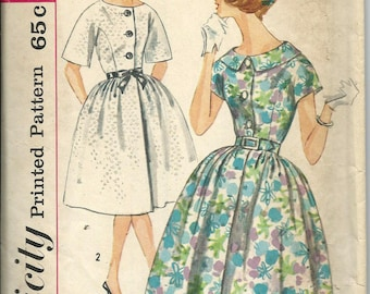 1950s Simplicity 3829 Misses One-Piece Dress with Full Skirt Pattern, Size 12, Bust 32