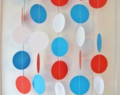 10ft Red White and Blue Garland - Dr Seuss, Cat in the Hat, Paper Circle Garland, 4th of July Decoration, Photo Prop