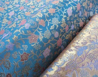 Blue brocade Japanese fabric, blue and golden brocade fabric, japanese kimono fabric, quilt fabric, japanese fabric, crafts fabric