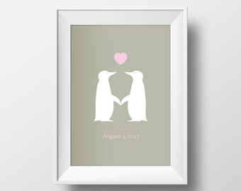 Engagement, Wedding or Anniversary gift. Digital Penguin Love Print. Prints for the home.