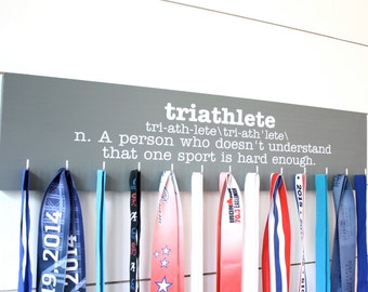 Triathlon Medal Holder - Definition of Triathlete - Large