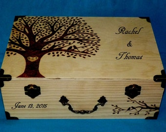 Decorative Wooden Wedding Box Wood Burned Card Box Suitcase Wedding Tree Keepsake Guest Book Box Large Box Personalized Love Birds Gift