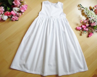 Simple Christening gown with satin flower, 100% cotton, varioussizes