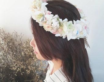 Fairy tale pastel colour flower crown | Silk flower hair accessories | Soft colour hydrangea flower crown | floral circlet
