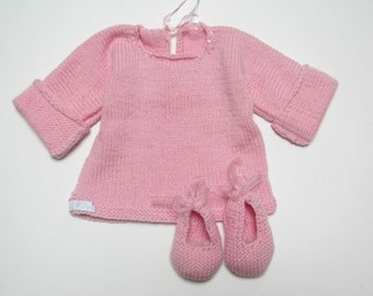 hand knitted newborn sweater and shoes for cherished baby girl