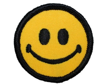 "2"" Classic Yellow Smiley Smiling Happy Face Embroidered Iron On Badge Applique Patch"