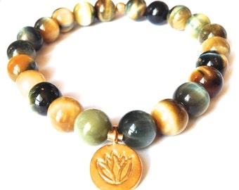 golden blue tiger eye gemstone bracelet