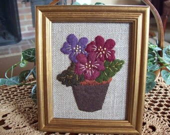 Pot of Violets Framed Piece Wall Hanging Shelf Tuck