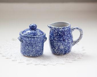 Blue Speckled Sugar and Creamer Set