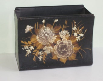 Vintage Black Metal Tole Ware Magazine Rack Holder Gold and Cream Flowers