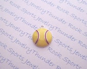 Antique Silver Plated Softball Yellow Enamel Ball Charms Sports Pendants