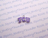 6 Texas Christian TCU Horned Frogs Charms Silver Plated University Logo Pendants