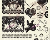 Papel Picado Digital Clip Art Banner Love Hearts Bird Floral Flowers Scalloped Lace Borders Design Elements Vintage VECTOR DIY Wedding 10219