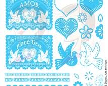Cinco de Mayo Mexican Banners Borders Blue Digital Papel Picado Clip Art Set Bird Heart Festive Colors Valentines Mothers Day Graphics 10574