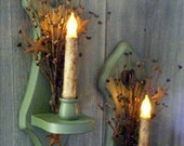 Primitive Home Decor-2 Candle Holders with Led Candles