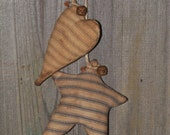 Primitive Home Decor-Handsewn Puffy Grungy Heart and Star Peg Hanging