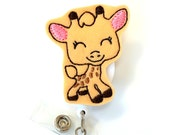 Ginny Giraffe - Name Badge Holders - Cute Badge Reels - Unique Retractable ID Badge Holder - Felt Badge Reel - Nurse Badges - BadgeBlooms