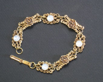 Vintage Ornate Rose Bracelet With Glass Moonstone Cabs - Gold Tone Metal - Jewelry, Accessories