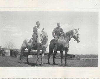Weekend Leave - Vintage 1940s Soldiers on Horses Photograph