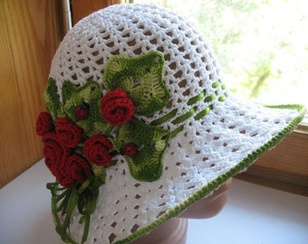 Hat Brim in White with Roses Crochet  Women