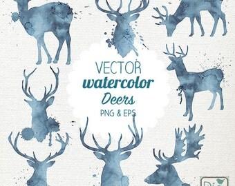 Vector Watercolor Deer Clip Art - Hand Painted Deer, Vector Deer Clipart Set, Watercolor Deer Png & Eps - Instant Download