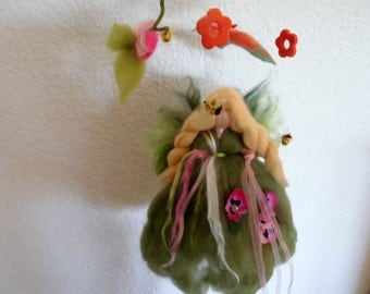 SALE Mobile handcrafted felted fairy butterflies bees flowers needle craft nursery gift idea