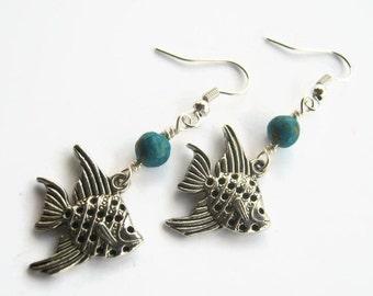 Angelfish Earrings, Turquosie Earrings, Beach Earrings, Angel Fish Earrings, Nautical Inspired, Fish Jewelry, Aqua & Silver