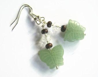 Jade Butterfly Earrings, Gemstone Beaded Earrings, Faceted Crystal Earrings. Silver, Heart Chakra Earrings, Nature, Insect, READY To Ship