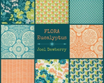 Joel Dewberry Fabric - 8 Fat Quarter Bundle FLORA in Eucalyptus | ships from Australia