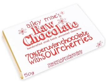 Raw Chocolate Bar 70% Peruvian Chocolate with Sour Cherries 50g
