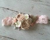 Baby Girl Headband- Baby Headband- Newborn Headband- Flower Girl Headband-Headband-Lace Baby Headbands-Bows-Cream Headband-Baby hair Bows