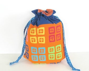 Knitting Bag, Drawstring Knitting Project Bag, MediumTote Bag Geometric Blue Orange Yarn Bag