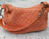Vintage Coral Crochet Embellished Handbag