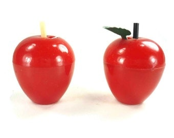 Vintage Apple Salt and Pepper Shakers Red Plastic