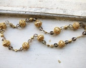 Upcycled Short Necklace with Big Antique Tamborin Gold-plated Silver with Smoky Topaz Beads