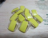12 Pieces 14 mm Vintage Square Shank Button with Unique Clear Transparent Frame and Rectangular Greenish Yellow Center with Gold Design