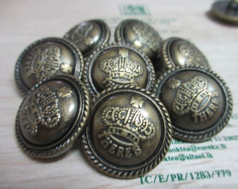 10 New Large 25 mm Antique Brass Tone Crown Crest Style Domed Plastic Round Shank Buttons