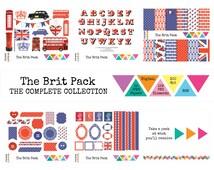 BRITISH CLIP ART & Digital Paper Kit • 141 x London Themed Alphabet, Union Jack, Red, White Blue • png • jpeg • 300 dpi • rgb •