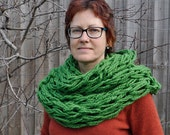 Arm-Knit Wool Cowl Infinity Scarf Super Chunky Hipster Scarf XL Green