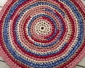 "Summer Fair Rug Crochet 43"" Rag Rug Round Cotton Washable Soft Handmade Kitchen Porch Country Primitive Homespun Red Tan Blue"