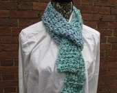 Accent Scarf Crochet Acrylic Washable Colorful Warm Soft Handmade Adjustable Teal Blue Lavender