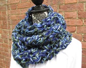 Infinity Scarf Crochet Acrylic Washable Colorful Warm Soft Handmade Cowl Navy Green
