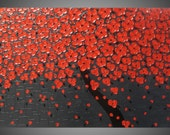 Painting Art Paintings acrylic painting Large Canvas Cherry Tree red blossom grey wall art abstract 48 x 24 MADE TO ORDER by ilonka