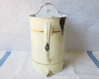 Vintage french enamel water pot, Graduate jug, Rustic kitchen, 1930s Antique Home decor Enamelware