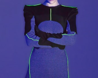 Uv and Reflective piping dress/ urban sport / futuristic sport style