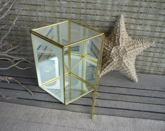 Vintage Glass and Brass Display Box, Curio, Geometric Design Frosted Glass