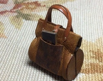Sports Bag Purse Luggage Valise - by Pat Tyler Leather Dollhouse Miniatures