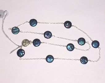 "Blue-green coin and sterling silver 17"" wire wrapped necklace"