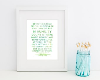 Philippians 2:3-4 Watercolor Verse// Christian Scripture Art Print